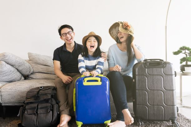 Asian family prepares for a family vacation