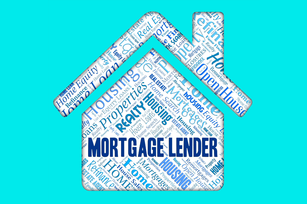 A keyword 'mortgage lender' in bold with other terms related to home loans on a house shape note
