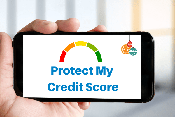 Image of credit rating and words 'protect my credit score' on a mobile screen