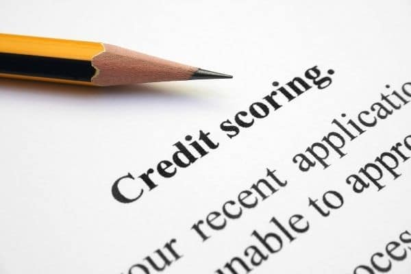Close up of pencil on credit scoring form